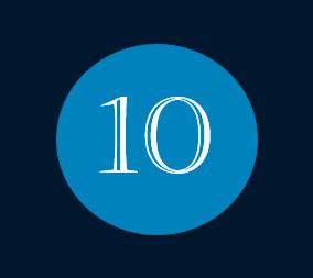 Das Bild zeigt die Nummer 10 für den Monat Oktober mit weißer Schrift innerhalb eines blauen Kreises.
