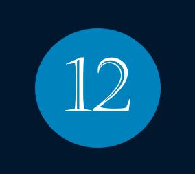 Das Bild zeigt die Nummer 12 für den Monat Dezember mit weißer Schrift innerhalb eines blauen Kreises.