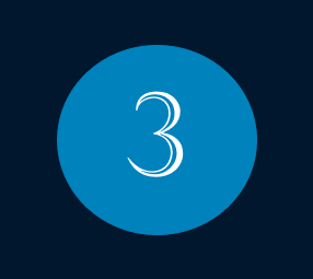 Das Bild zeigt die Nummer 3 für den Monat März mit weißer Schrift innerhalb eines blauen Kreises.