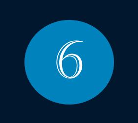 Das Bild zeigt die Nummer 6 für den Monat Juni mit weißer Schrift innerhalb eines blauen Kreises.