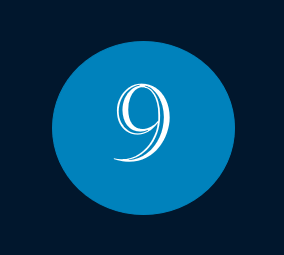 Das Bild zeigt die Nummer 9 für den Monat September mit weißer Schrift innerhalb eines blauen Kreises.
