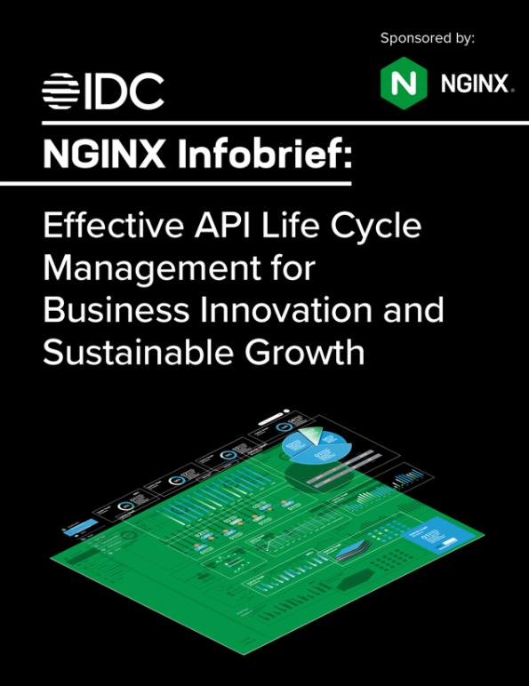 """NGINX Infobrief zum Thema """"Effektives API-Lebenszyklusmanagement für Geschäftsinnovation und nachhaltiges Wachstum""""."""