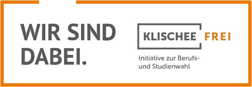 Das Banner der Initiative Klischeefrei mit orangem Rahmen hinterlegt auf weißem Untergrund.