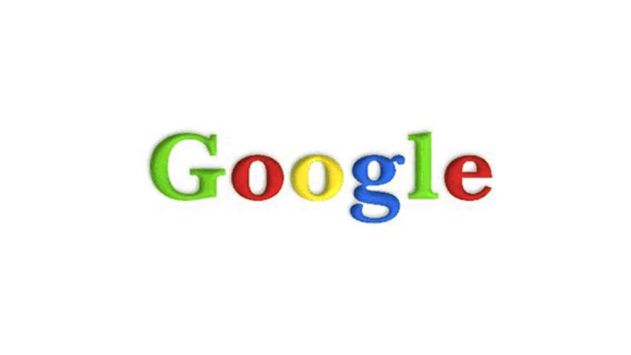 Google Logo 1998 - die Farben waren bereits vorhanden, jedoch in einem anderen Farbton. Auch standen die Buchstaben erstmals senkrecht und ein Schatten wurde hinzugefügt, der noch viele Jahre später geblieben ist.