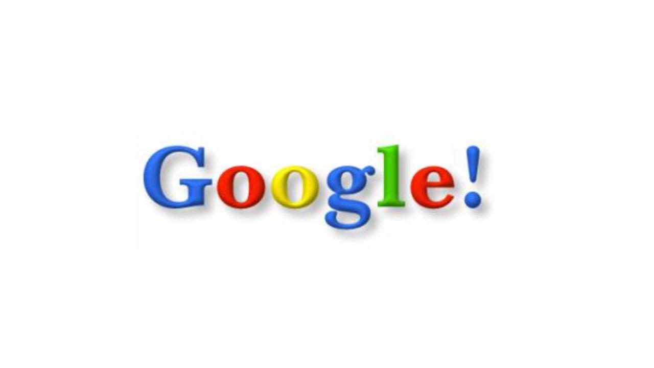 Google Logo 1999 Nr. 1 -  die Anordnung der Farben sowie der jeweilige Farbton haben sich geändert. Für eine kurze Zeit hat man sich an dem Logo des Giganten Yahoo orientiert, weshalb ein Ausrufezeichen eingefügt wurde.